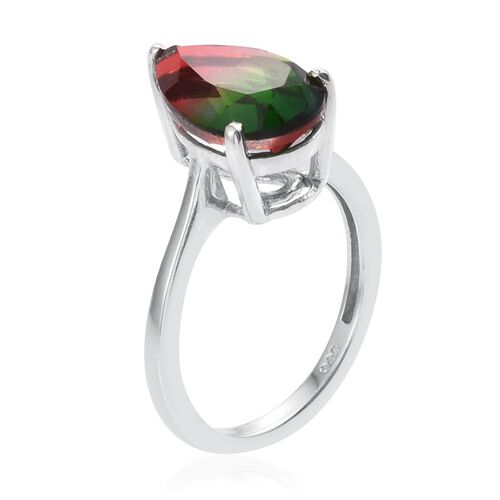 Tourmaline Colour Quartz (Pear) Solitaire Ring in Platinum Overlay Sterling Silver 5.250 Ct.