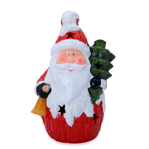 Multi Colour Ceramic Decorative Santa Claus with Bell, Tree and LED Light