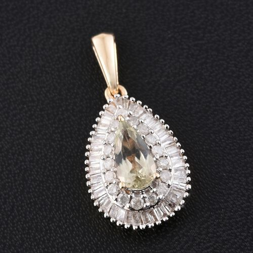 9K Y Gold AA Natural Turkizite (Pear 0.90 Ct), Diamond (I3/H-I) Pendant 1.250 Ct.