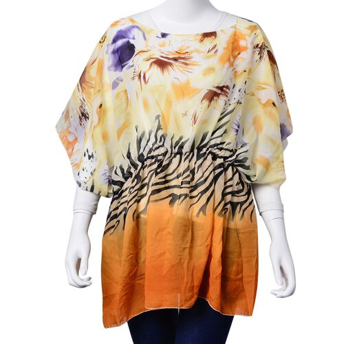 Zebra Pattern Orange, Purple and Light Yellow Colour Poncho (Free Size)