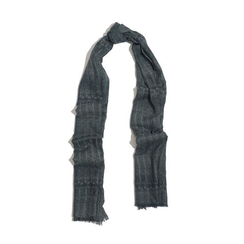 50% Merino Wool and 50% Cotton Dark Green and Grey Colour Woven Scarf (Size 180x70 Cm)