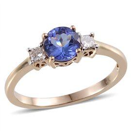14K Yellow Gold AA Tanzanite Rnd 0.90 Ct), Diamond Ring 1.100 Ct.
