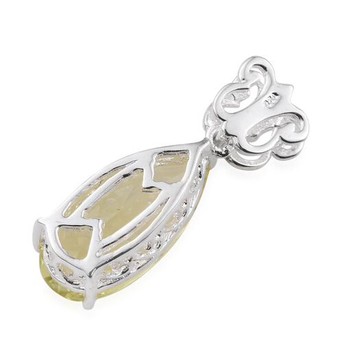 Natural Ouro Verde Quartz (Pear) Solitaire Pendant in Sterling Silver 4.000 Ct.