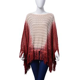 Light Red, Deep Red and Multi Colour Poncho (Size 100x55 Cm)