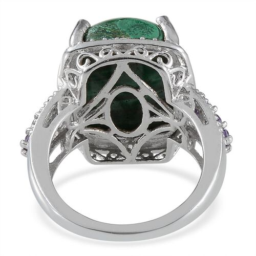 Malachite (Cush 8.50 Ct), Simulated Tanzanite and Simulated Diamond Ring in ION Plated Platinum Bond 8.950 Ct.