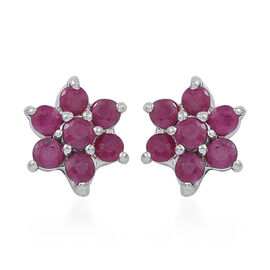 AAA Burmese Ruby (Rnd) Floral Stud Earrings (with Push Back) in Rhodium Plated Sterling Silver 1.250 Ct.