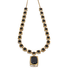 Boi Ploi Black Spinel (Cush 21.75 Ct) Necklace (Size 20) in 14K Gold Overlay Sterling Silver 53.000 Ct.