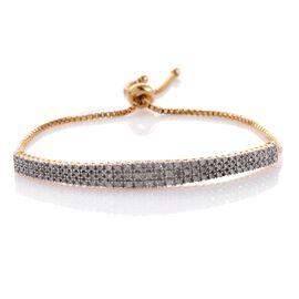 Designer Inspired Diamond (Rnd) Adjustable Bracelet (Size 6 to 8.25) in 14K Gold Overlay Sterling Silver 1.000 Ct.
