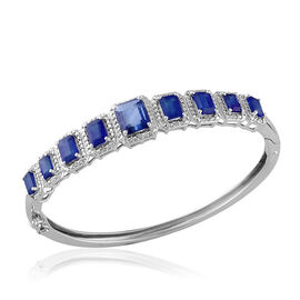 Himalayan Kyanite (Oct 2.70 Ct), Diamond Bangle in Platinum Overlay Sterling Silver 10.002 Ct.