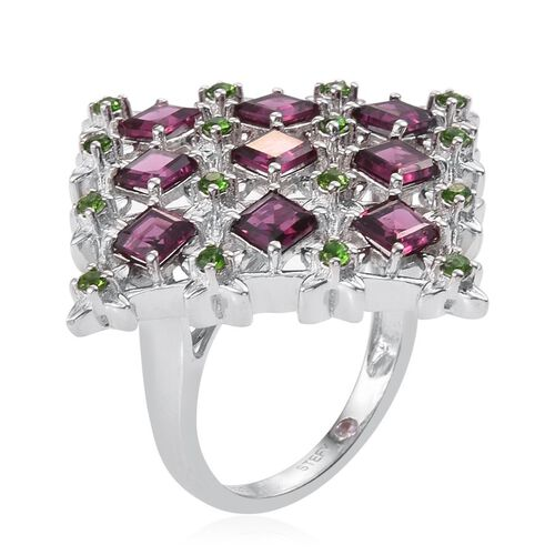 Stefy Rhodolite Garnet (Sqr), Russian Diopside and Pink Sapphire Ring in Platinum Overlay Sterling Silver 3.770 Ct.