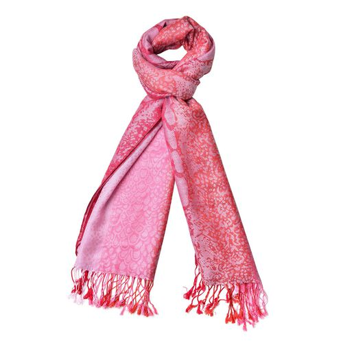 Light Pink and Fuchsia Colour Leopard Pattern Scarf with Tassels (Size 180X65 Cm)