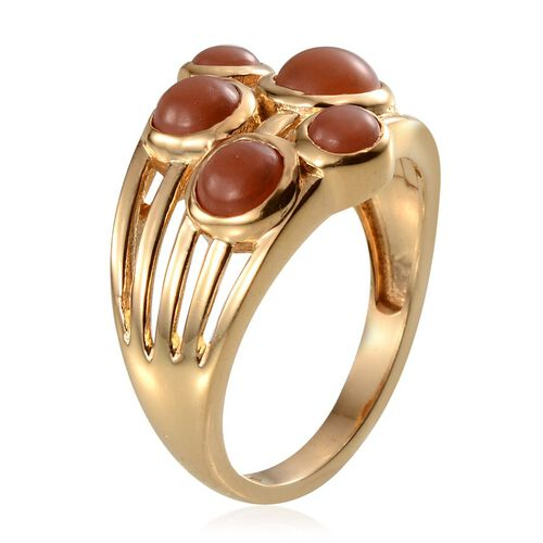 Mitiyagoda Peach Moonstone (Rnd 1.00 Ct) 5 Stone Ring in Yellow Gold Overlay Sterling Silver 2.750 Ct.