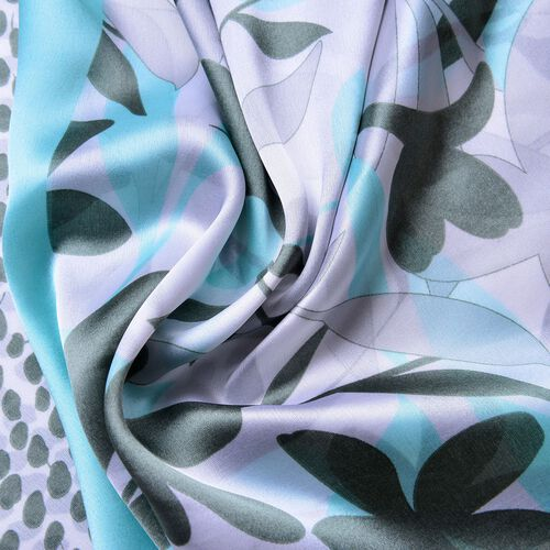 Blue, Dark Green and Purple Colour Flowers, Leaves and Dots Pattern Scarf (Size 180X90 Cm)