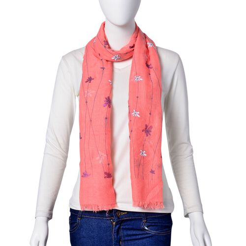 White and Blue Colour Chrysanthemum Floral Pattern Pink Colour Scarf (Size 180x70 Cm)