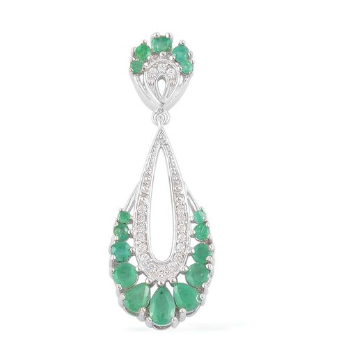 Kagem Zambian Emerald (Pear), White Zircon Pendant in Platinum Overlay Sterling Silver 1.270 Ct.