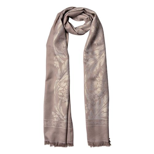 Leaves and Floral Pattern Grey Colour Scarf with Fringes (Size 180x70 Cm)
