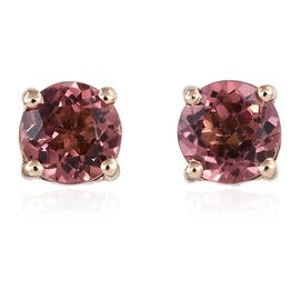 9K Yellow Gold 1 Carat Pink Tourmaline Round Solitaire Stud Earrings.