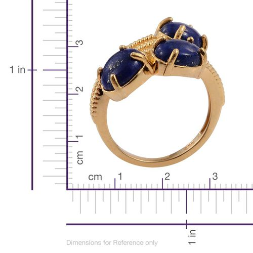 Lapis Lazuli (Ovl) Trilogy Ring in 14K Gold Overlay Sterling Silver 4.000 Ct.