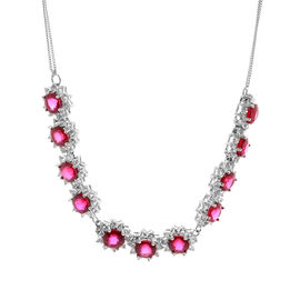 African Ruby (Rnd), White Topaz Necklace (Size 18) in Rhodium Plated Sterling Silver 22.680 Ct.