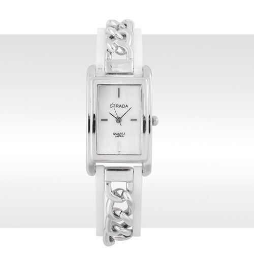 New Arrival - STRADA Genuine Mother of Pearl Japanese Movement Watch in Silver Tone with White Colour and Curb Chain Strap