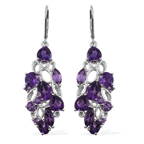 GP Amethyst (Pear), Kanchanaburi Blue Sapphire Lever Back Earrings in Platinum Overlay Sterling Silver 8.750 Ct.