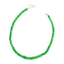 Green Jade Necklace (Size 17 with 2 inch Extender) in Rhodium Plated Sterling Silver 145.000 Ct.