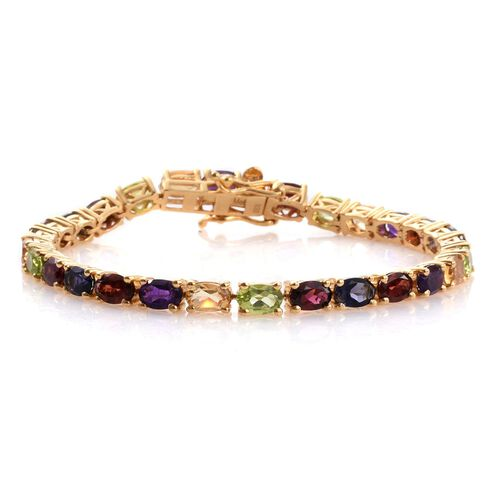 Colours of Life Collection - Mozambique Garnet (Ovl), Rhodolite Garnet, Hebei Peridot, Amethyst, Citrine and Iolite Bracelet (Size 7) in 14K Gold Overlay Sterling Silver 12.300 Ct.