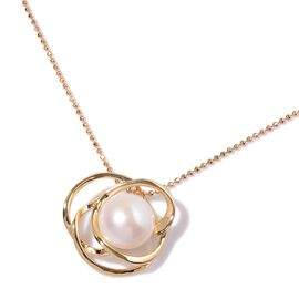 Fresh Water White Pearl Pendant With Chain (Size 20) in Gold Tone with Stainless Steel