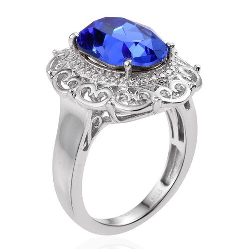 Crystal from Swarovski - Sapphire Colour Crystal (Ovl) Solitaire Ring in ION Plated Platinum Bond