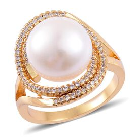 Fresh Water White Pearl and Simulated White Diamond Ring in Gold Tone