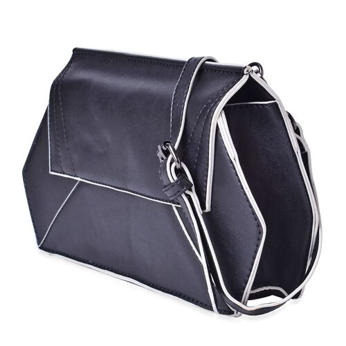 Classic Black and White Colour Crossbody Bag with Adjustable and Removable Shoulder Strap (Size 27.5x16.5x6 Cm)