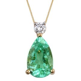 ILIANA 18K Y Gold Boyaca Colombian Emerald (Pear 1.90 Ct), Diamond (SI/G-H) Pendant With Chain 2.000 Ct.