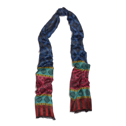 100% Modal Navy Blue, Black and Multi Colour Jacquard Scarf (Size 190x70 Cm)