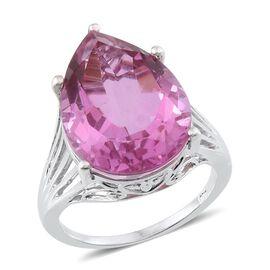 Kunzite Colour Quartz (Pear) Ring in Platinum Overlay Sterling Silver 17.000 Ct.