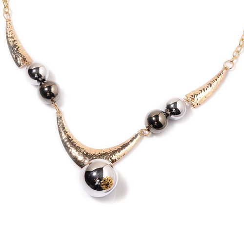Ball Necklace (Size 22) with Front and Back Stud Earrings in Gold Tone