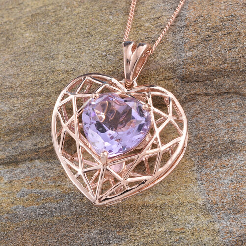 GP Rose De France Amethyst (Hrt), Kanchanaburi Blue Sapphire Heart Pendant With Chain in Rose Gold Overlay Sterling Silver 4.000 Ct.