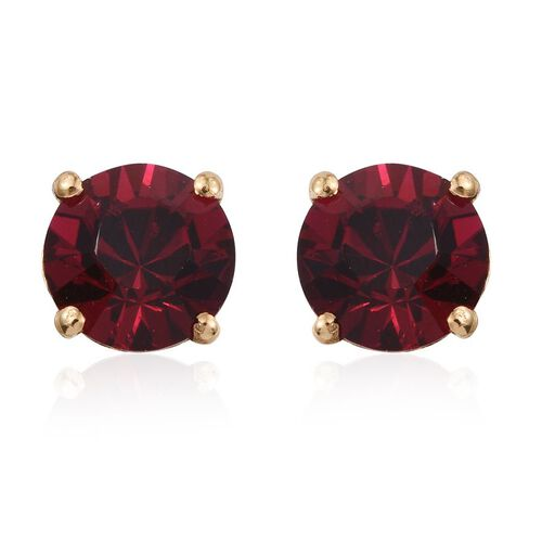 J Francis Crystal from Swarovski - Ruby Colour Crystal (Rnd) Stud Earrings (with Push Back) in 14K Gold Overlay Sterling Silver
