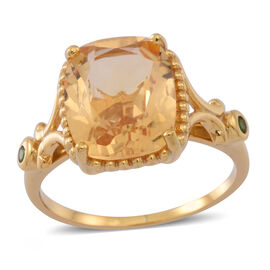 Rare Size AAA Citrine (Cush 4.90 Ct), Russian Diopside Ring in 14K Gold Overlay Sterling Silver 5.000 Ct.