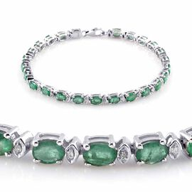 AAA Kagem Zambian Emerald (Ovl), Diamond Bracelet in Platinum Overlay Sterling Silver (Size 7.5) 7.080 Ct.