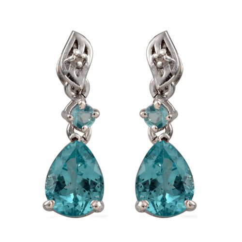 AA Paraibe Apatite (Pear), Diamond Earrings (with Push Back) in Platinum Overlay Sterling Silver 2.410 Ct.