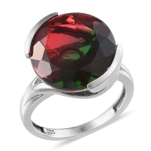 Tourmaline Colour Quartz (Rnd) Solitaire Ring in Platinum Overlay Sterling Silver 11.750 Ct.