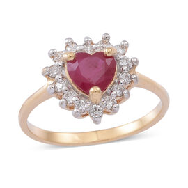 Collectors  Edition ILIANA 18K Y Gold  Burmese Ruby (Hrt 1.00 Ct) Diamond Ring 1.250 Ct.