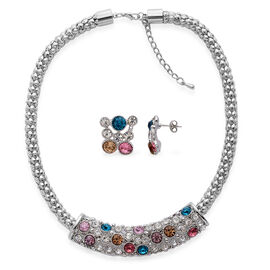 AAA White Austrian Crystal and Multi Colour Glass Necklace (Size 18 with Extender) and Earrings (With Push Back) in Silver Tone