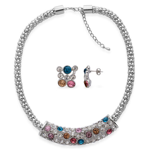 White Austrian Crystal and Multi Colour Glass Necklace (Size 18 with Extender) and Earrings (With Push Back) in Silver Tone
