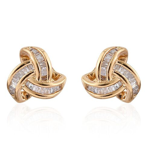 Diamond (Bgt) Triple Knot Stud Earrings (with Push Back) in 14K Gold Overlay Sterling Silver 0.250 Ct.