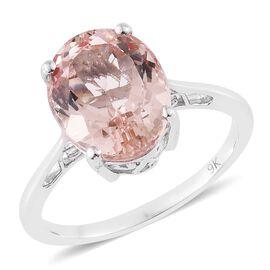 9K White Gold 4.25 ct AA Marropino Morganite Solitaire Ring