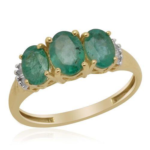 9K Y Gold Kagem Zambian Emerald (Ovl 0.900 Ct) Diamond Ring  1.600 Ct.