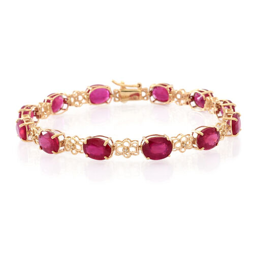 9K Y Gold African Ruby (Ovl), Natural Cambodian White Zircon Bracelet (Size 7.25) 20.000 Ct.