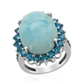 Larimar (Ovl 12.50 Ct) Malgache Neon Apatite Ring in Platinum Overlay Sterling Silver  14.000 Ct.