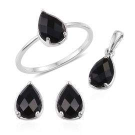 Black Onyx (Pear) Solitaire Ring, Pendant and Stud Earrings (with Push Back) in Platinum Overlay Sterling Silver 3.750 Ct.